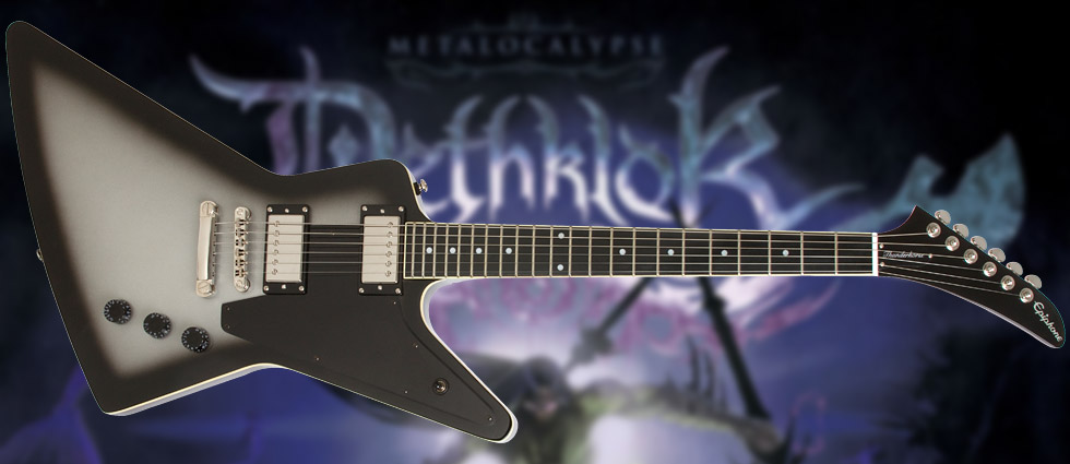 the lethal weapon of Dethklok lead guitarist Skwisgaar Skwigelf