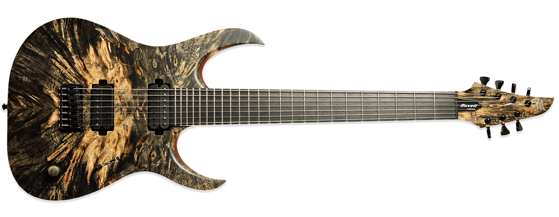 Mayones Duvell Elite 7 Buckeye Burl Trans Natural Satine